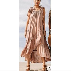 FREE PEOPLE Delphi Boho Dress in Pink L